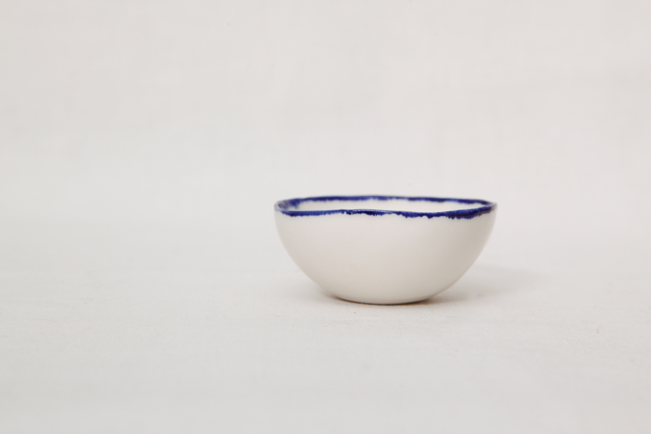 bowl with a blue edge