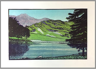 Original reduction linocut print. Handprinted. English Lake District, Blea Tarn Langdale. Landscapes. English Countryside.