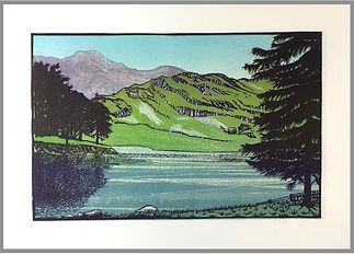 Original reduction linocut print. Handprinted. English Lake District, Blea Tarn Langdale. Landscapes. English Countryside.