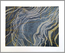 Stasis #1- Abstract image of frozen water and reeds. Four block linocut print. Dark to light.