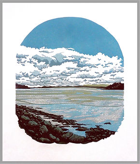 Original 12 colour reduction linocut print. Dinas Sligo, Ireland. Handprinted. Original artwork.