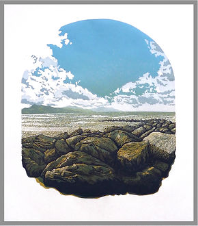 Original 12 colour reduction linocut print. Dinas Dinlle, Wales. Handprinted. Original artwork.