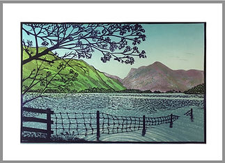 Original reduction linocut print. Handprinted. Buttermere. English Lake District, Buttermere, Langdale. Landscapes. English Countryside.