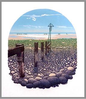 Original 12 colour reduction linocut print. Dinas St.Bees, Cumbria. Handprinted. Original artwork.