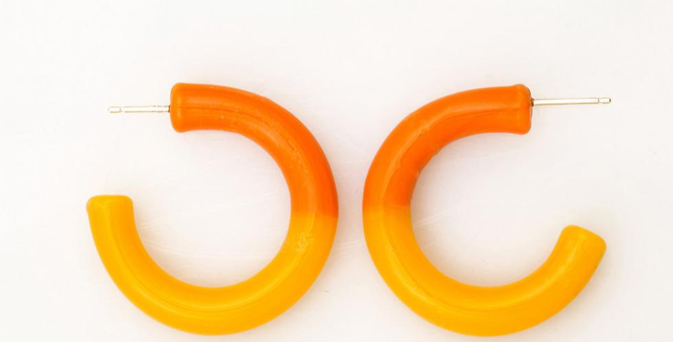 Two-tone Glass Hoop Earrings - KEANE NY