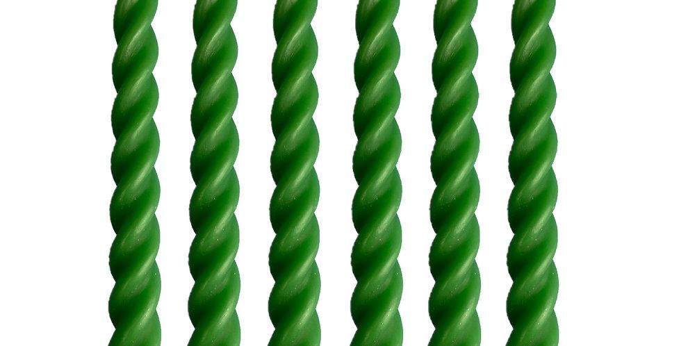 Green - Set of 6 100% Beeswax Spiral Candles