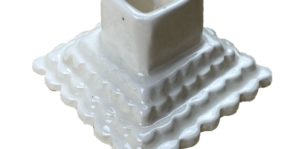 Scalloped Square Candle Holder
