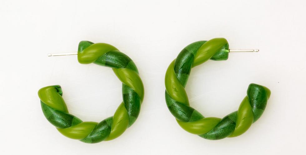 Two-tone Braided Glass Hoop Earrings