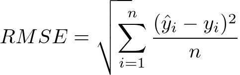 Root mean squared error formula