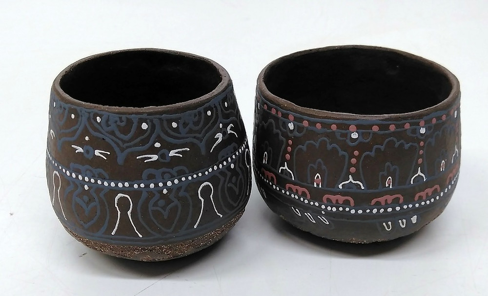bisque fired decorated with design liner
