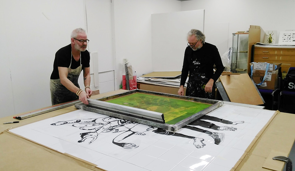 Erik Kok and Rudi Bastions planning out screens to use