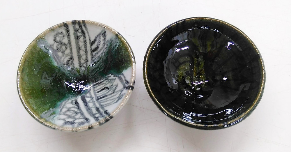 Tribe combination on left, just green glaze on right