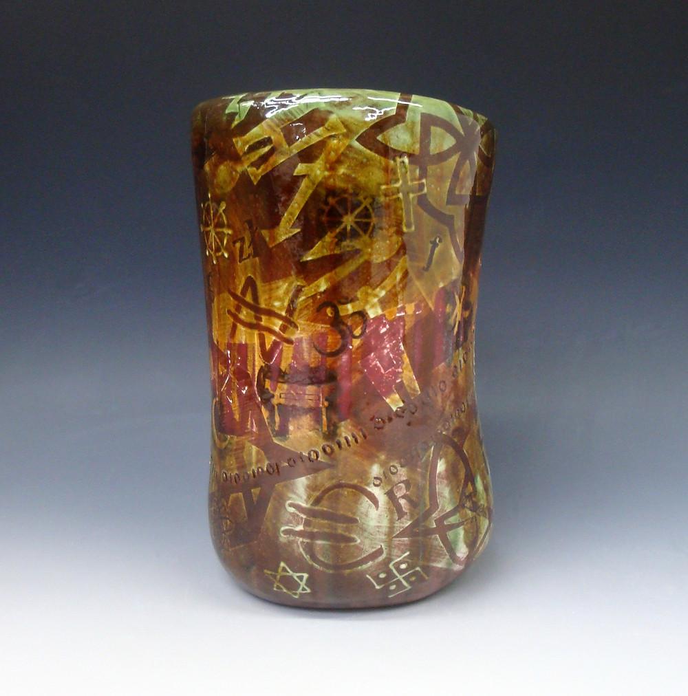 Slip decorated lead-glazed vase