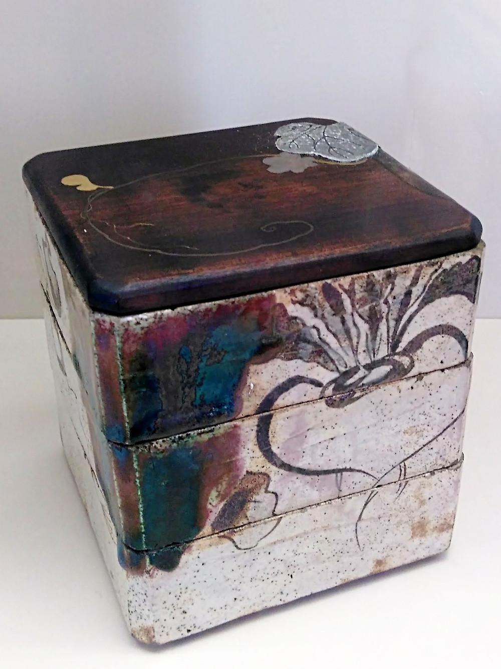 Oribeware food container c. 1800