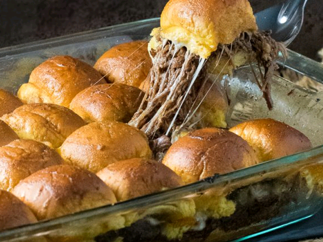 Baked Mississippi Roast Party Sandwiches