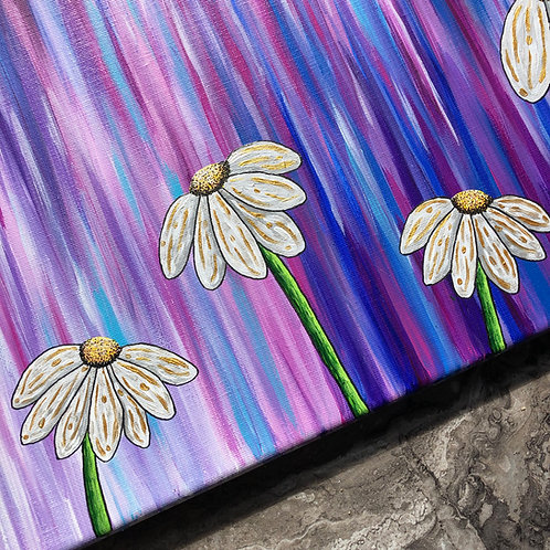 Golden Daisies on Abstract