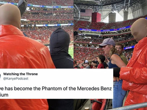 Kanye West Caught Looking Over Mercedes Benz Stadium During NFL Preseason Game
