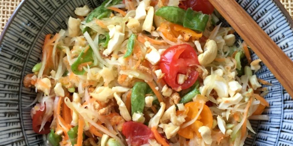 Atelier Cuisine du Monde : Salade de papaye verte et mangue caramélisée au gingembre