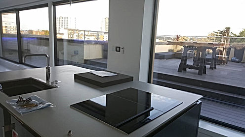High End Penthouse Apartment View of Glazing and High Spec Kitchen