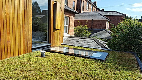 Specialist Sedum Roof With bespoke cedar cladded extension and roof light