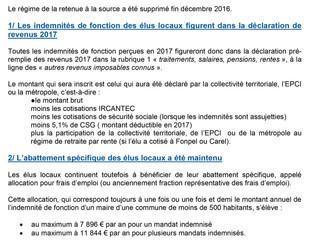 ATTENTION/IMPORTANT ! Note d'information relative à la déclaration des indemnités de fonction pe