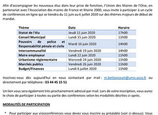 UMO - INSCRIPTION AUX UNIVERSITÉS DES NOUVEAUX ELUS