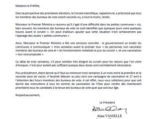 Lettre à l'attention de Mme la Préfète - Vaccination et élections