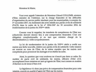 Réponse du Ministre de l'Intérieur sur la compensation financière du traitement des PACS par les