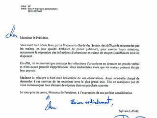 Réponse du Ministère de la Justice sur les difficultés rencontrées par les maires en matière d'i