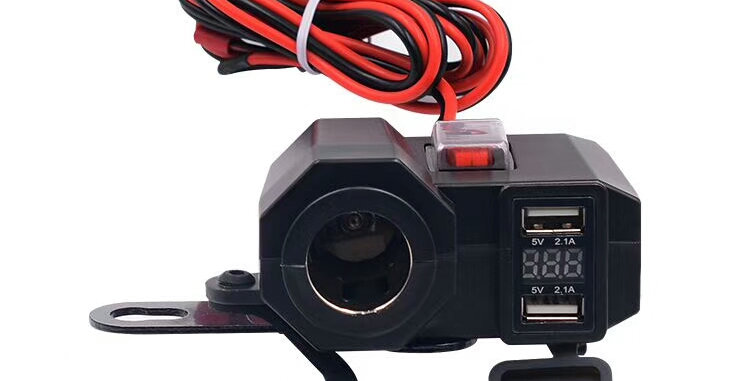 Motorcycle Dual USB with Cigarette Lighter Port & Voltmeter