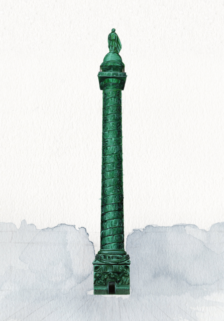 Vendome column drawing with gouache