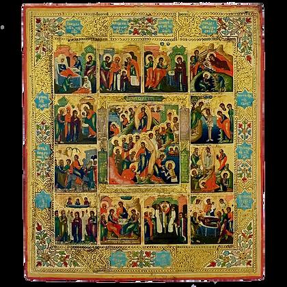 Russische Ikone | Ostern und die 12 Hochfeste | Palech