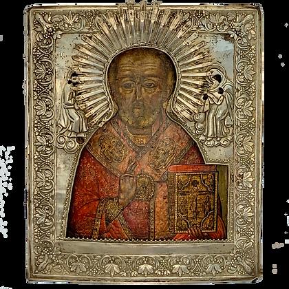 Russische Ikone | Heiliger Nikolaus | mit Silberoklad