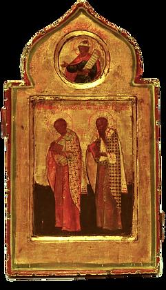 Russische Ikone | Heilige Johannes Chrysostomos & Basilius der Große