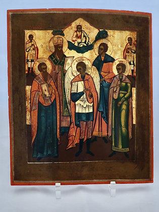 Russische Ikone | Heiliger Erzengel Michael mit Heilige | 24740