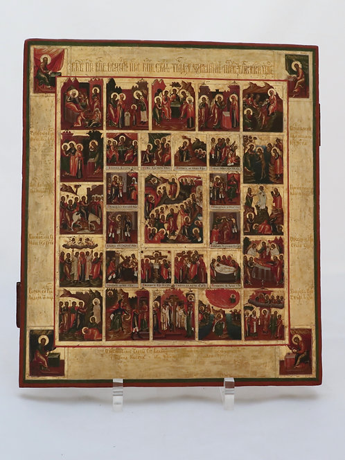 Russian icon | Easter, 16 Feasts & the Holy Week | Palekh | 24691