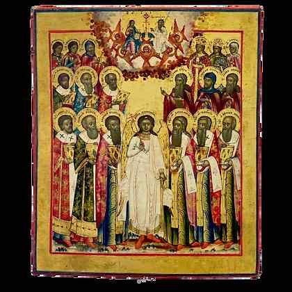 Russische Ikone | Heiliger Schutzengel mit Heiligen