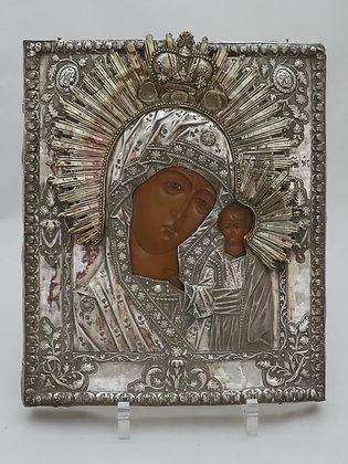 Russische Ikone | Gottesmutter von Kasan | mit Silberoklad | 24305