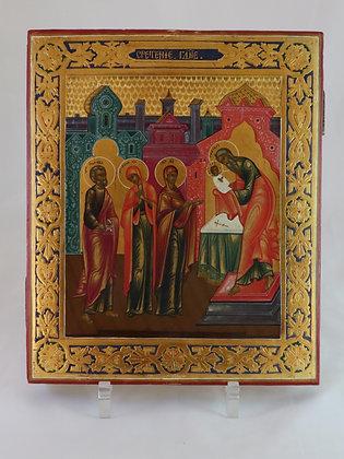 Russische Ikone   Darstellung Jesu um Tempel   24683