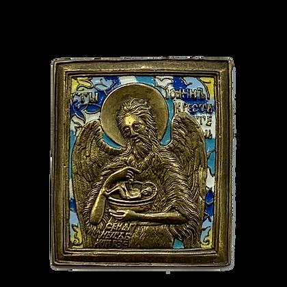 Russische Ikone   Metallikone   Heiliger Johannes der Vorläufer und Täufer