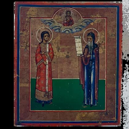 Russische Ikone | Heilige Romanos der Melode & Johannes von Damaskus
