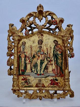 Griechische Ikone | Thronende Gottesmutter