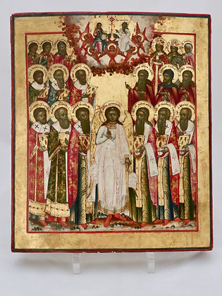 Russian Icon   Holy Guardian Angel with Saints