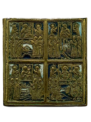 Russian Icon | Bronze Icon | Multiple-field Icon of the Mother of God