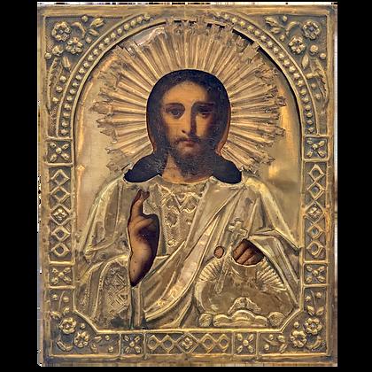 Russische Ikone | Christus Pantokrator | mit Oklad