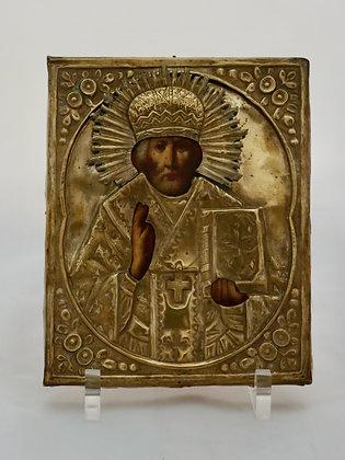Russische Ikone | Heiliger Nikolaus von Myra | mit Oklad | 24648
