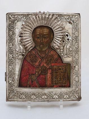 Russische Ikone | Heiliger Nikolaus von Myra | mit Silberoklad | 24651