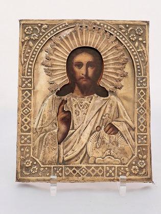 Russian Icon | Christ Pantocrator | with Riza