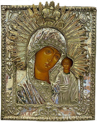 Russian Icon   Mother of God of Kazan   with Silver Riza