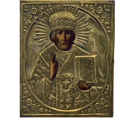 Russian Icon | Saint Nicholas of Myra | with Riza